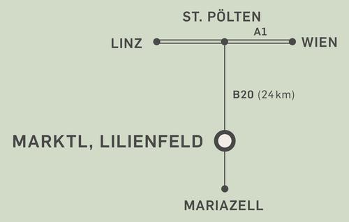 Anfahrtsplan Hotel zum Glockenturm in Marktl bei Lilienfeld im Traisental